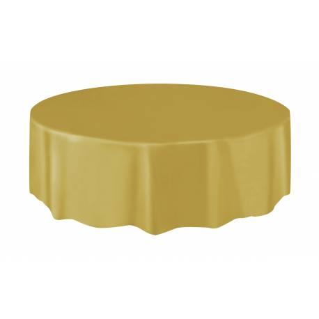 Nappe ronde en plastique or A usage éphémère Ø 213 cm