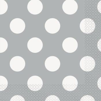16 Serviettes grise à pois