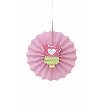 Suspension éventail baby shower rose