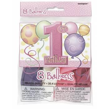 8 Ballons 1 an ballons rose