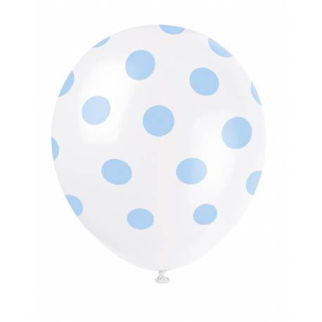 6 Ballons à pois en latex Couleur bleu clair