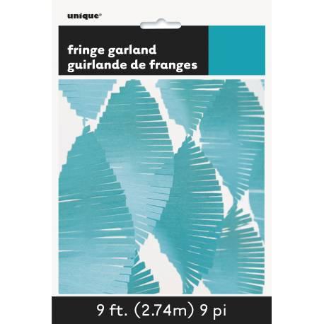 Guirlande de franges en papier turquoise ultra tendance pour décorer vos intérieurs et exterieur de fête Dimensions : longueur 2.74 mètres
