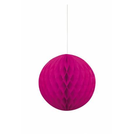 Suspension boule de papier fluo rose Ø 20 cm