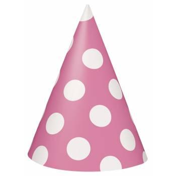 6 Chapeaux de fête pois rose