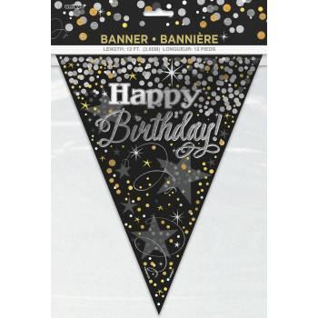 Guirlande fanions birthday pétillant or/argent