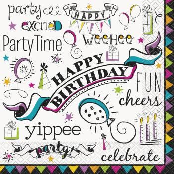16 Serviettes Doodle birthday