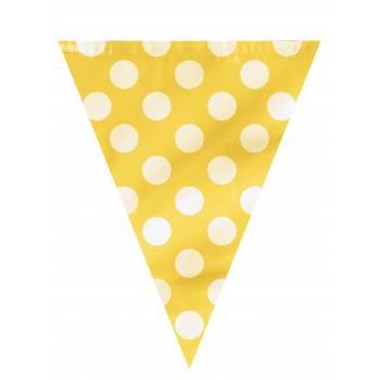 Guirlande fanions pois jaune
