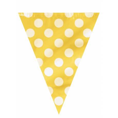 Guirlande de fanions à pois jaune Dimensions : 3.60 Mètres (22 cm de large et 27.5 cm de hauteur pour chaque fanion) Matière : plastique
