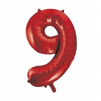 Ballon géant chiffre 9 rouge