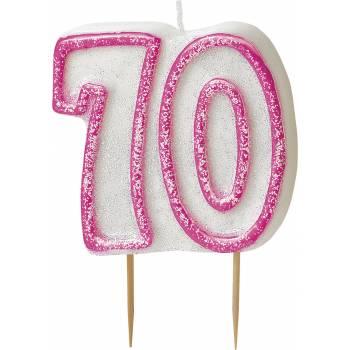Bougie 70 ans Pink pailleté