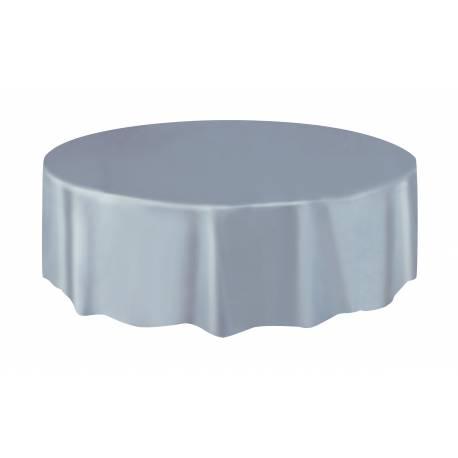 Nappe ronde en plastique argent A usage éphémère Ø 213 cm