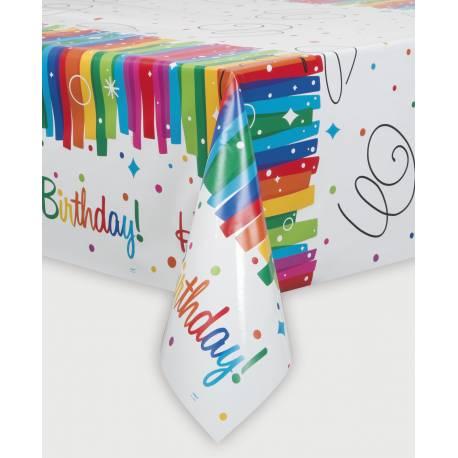 Nappe Rainbow en plastique pour la deco anniversaire de votre enfant. Dimensions :140 cm x 210 cm