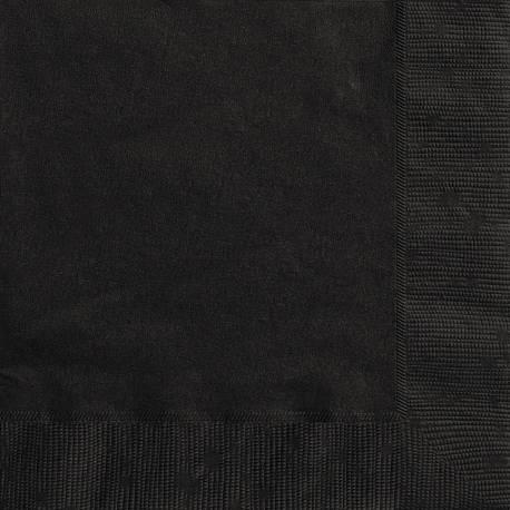 20 Serviettes en papier noire dimension dépliée : 33 cm x 33 cm