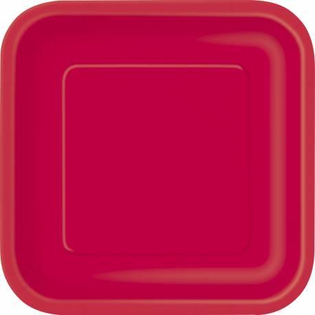 Paquet de 14 assiettes jetables en carton rouge Dimensions : 23 cm x 23 cm