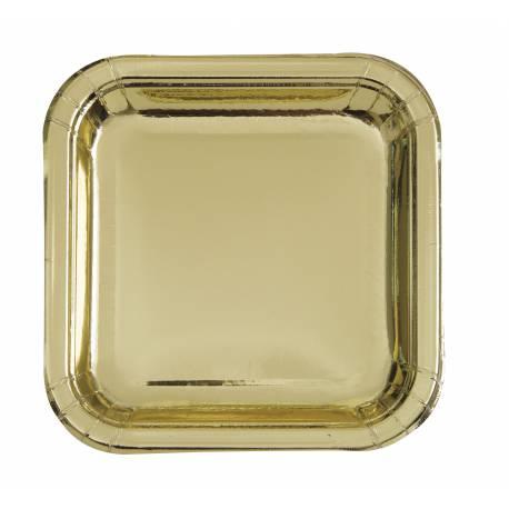 8 Assiettes carrée dessert carrée en carton de couleur or métallisé Dimensions : 18 cm x 18 cm