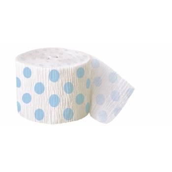 Guirlande papier crépon pois bleu clair