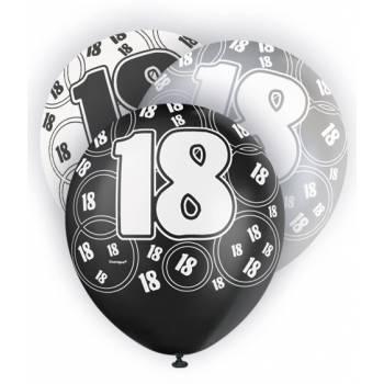 6 Ballons noir/blanc/gris 18 ANS