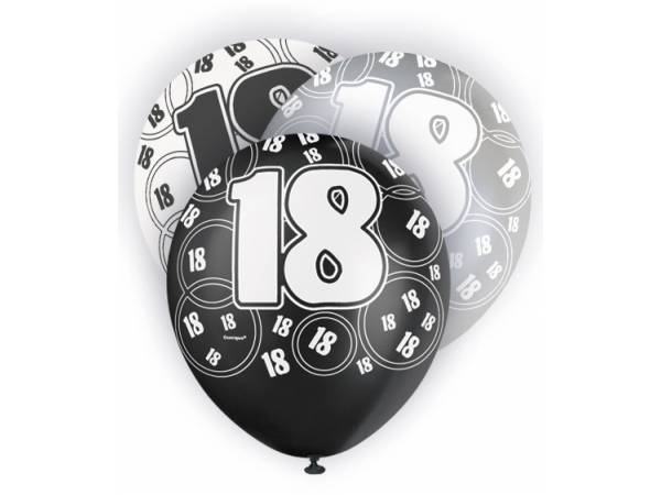 ballon anniversaire 18 ans noir et blanc. Black Bedroom Furniture Sets. Home Design Ideas