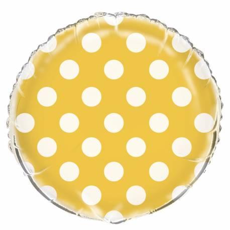 Ballon en aluminium pouvant être gonflé avec ou sans hélium à l'aide d'une paille jaune à pois blanc Dimensions : Ø 45 cm