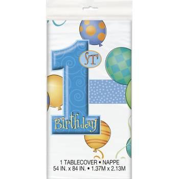 Nappe en plastique 1 an Ballons bleu