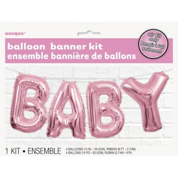Ballon alu Baby rose