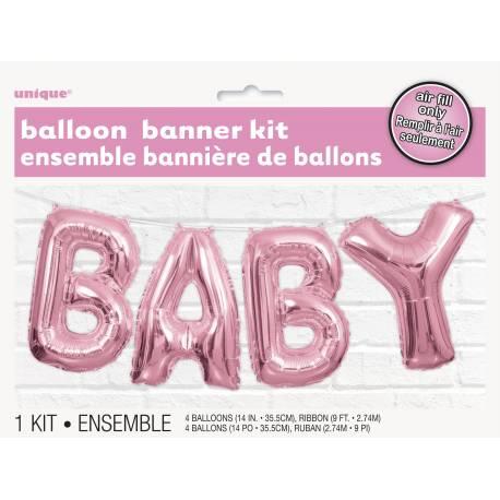 Assortiment de ballons lettres en aluminium formant le mot BABY pouvant être gonflé à l'air à l'aide d'une paille ou d'une petite...