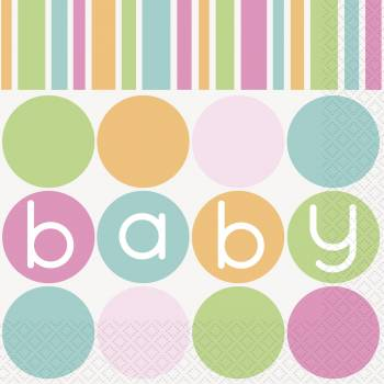 16 Serviettes baby shower pastel