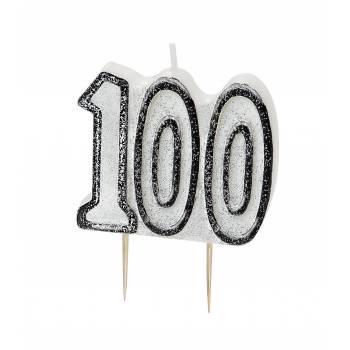 Bougie 100 ans Black/White pailleté