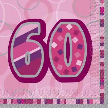 16 Serviettes 60 ans Pink