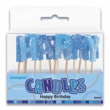Bougies Pics Déco Happy Birthday bleu pailleté