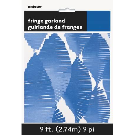 Guirlande de franges en papier bleu ultra tendance pour décorer vos intérieurs et exterieur de fête Dimensions : longueur 2.74 mètres