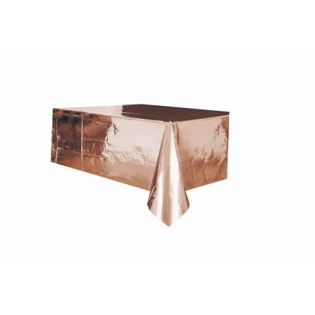 Nappe en plastiquebrillant métallisé rose gold Dimensions: 140cm x 275cm