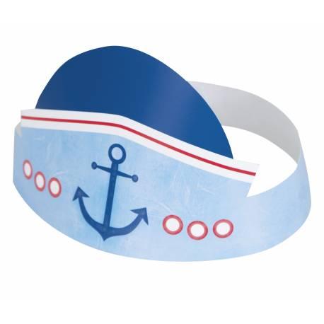 6 Chapeaux de fête Happy Birthday thème 1 an Petit marin