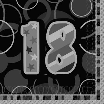 16 Serviettes 18 ans Black/White