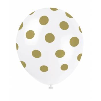 6 Ballons à pois or mat
