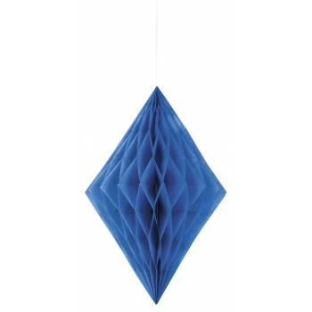 Suspension diamant papier bleu royal