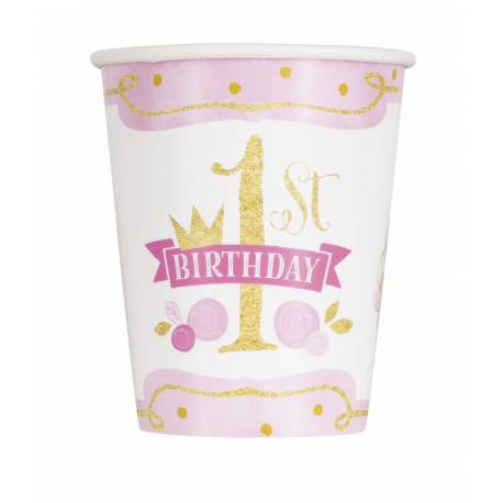 8 Gobelets en carton Happy Birthday 1 an princesse Couleur rose et or Dimensions : 20cl
