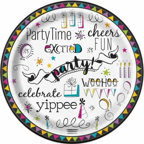 8 Assiettes dessert en carton thème Doodle Birthday Ø 18 cm Parfait pour la deco de votre fête ou anniversaire.