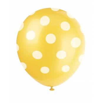 6 Ballons pois jaune