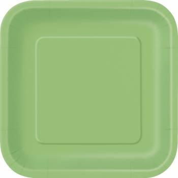 14 Assiettes carrée vert lime