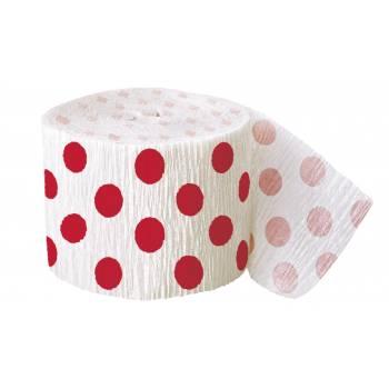 Guirlande papier crépon pois rouge