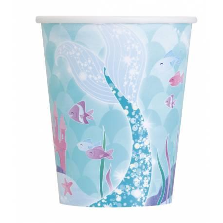 8 Gobelets thème sirène en carton pour la deco anniversaire de votre fille. 25cl