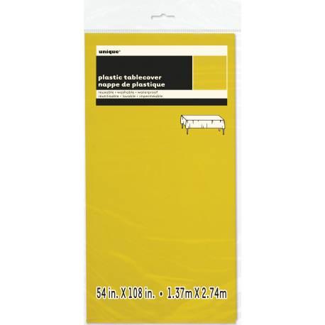Nappe en plastique fluo jaune Dimensions : 275 cm x 140 cm
