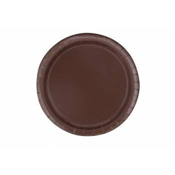 16 Assiettes en carton rondes chocolat