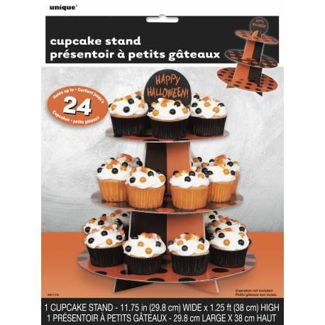 deco g teau halloween pr sentoir cupcakes noir et orange. Black Bedroom Furniture Sets. Home Design Ideas