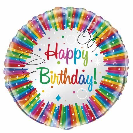 Ballon aluminium Rainbow pouvant être gonflé avec ou sans hélium à l'aide d'une paille pour la deco de vos anniversaires. Dimensions :...