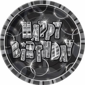 8 Assiettes Happy Birthday Black/White