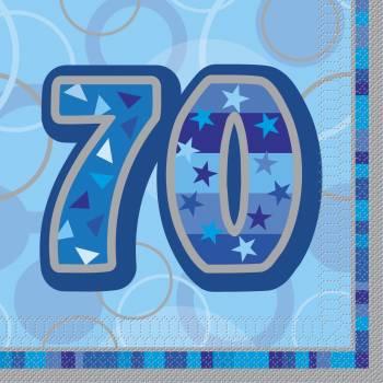 16 Serviettes 70 ans Bleu