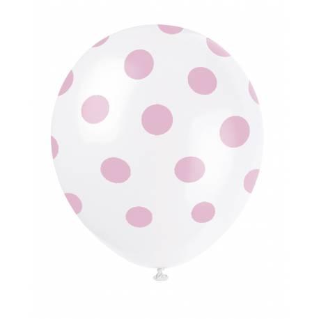 6 Ballons à pois en latex Couleur roseclair
