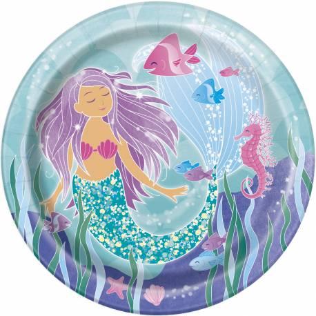 8 Assiettes en carton pour la deco anniversaire sur le thème des Sirènes de votre fille. Ø23cm